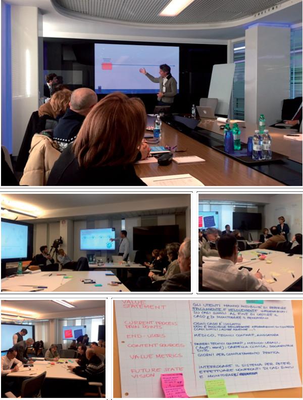 Alcuni momenti di lavoro del team multidisciplinare di Inail impegnato nel progetto MP Advisor